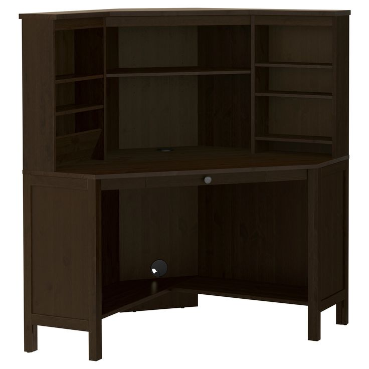 Hemnes corner workstation black brown for Ikea computer desk with hutch