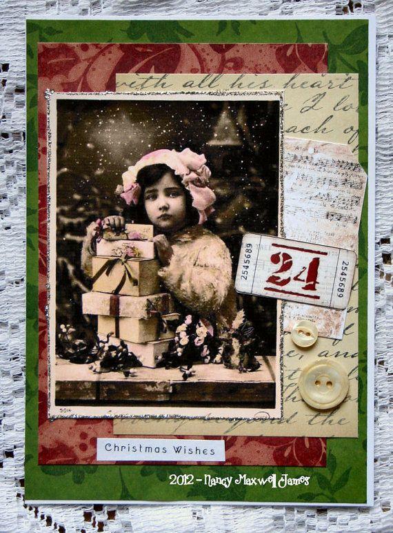 Christmas Wishes HANDMADE Christmas Collage Greeting Card. $4.00, via Etsy.