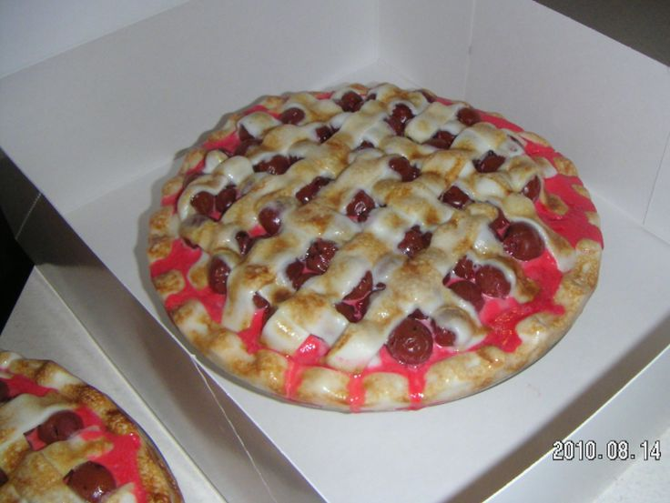"""... cherries. The """"crust"""" is fondant browned with a creme brulee torch"""