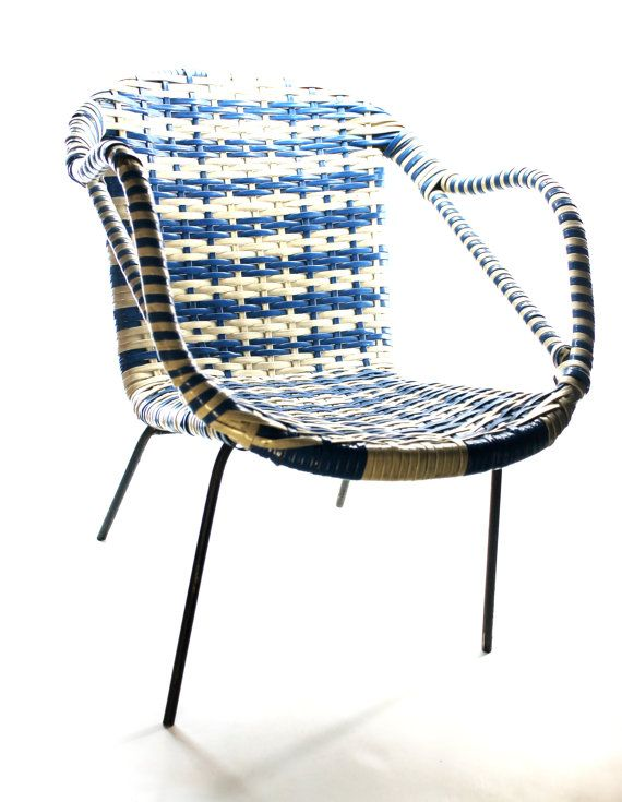 Childrens Plastic Weave Chair Blue And White Plastic Cane Kids Chai