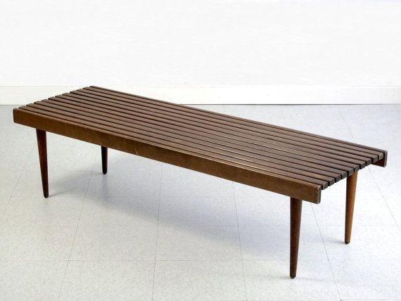 Vintage Slat Bench Coffee Table Nelson Style Mid Century Modern 19