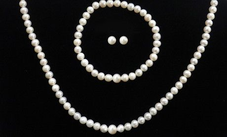 Save 75%.  $19 for Sterling-Silver Freshwater-Pearl Necklace, Bracelet, and Earrings Set