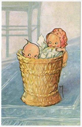 Kewpies in a Wicker Basket