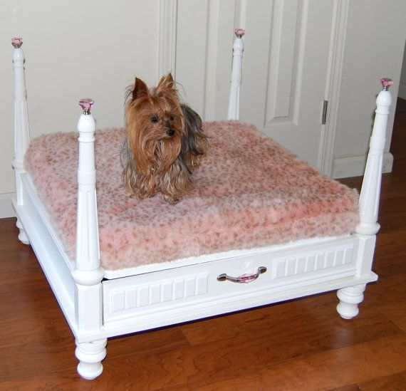 Custom one of a kind luxury 4 post canopy white pet for One of a kind beds