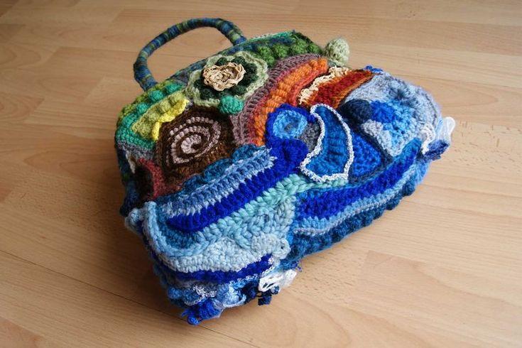 Freeform crochet bag base close up web Freeform crochet Pinterest
