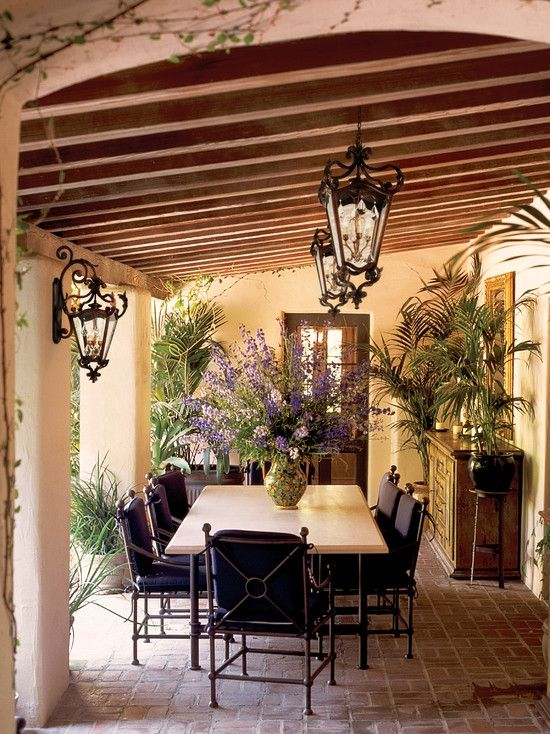 Mediterranean patio spanish style decor pinterest - Spanish style patio ideas ...