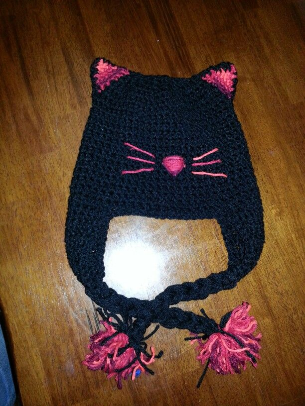 Black and red kitty cat crochet hat