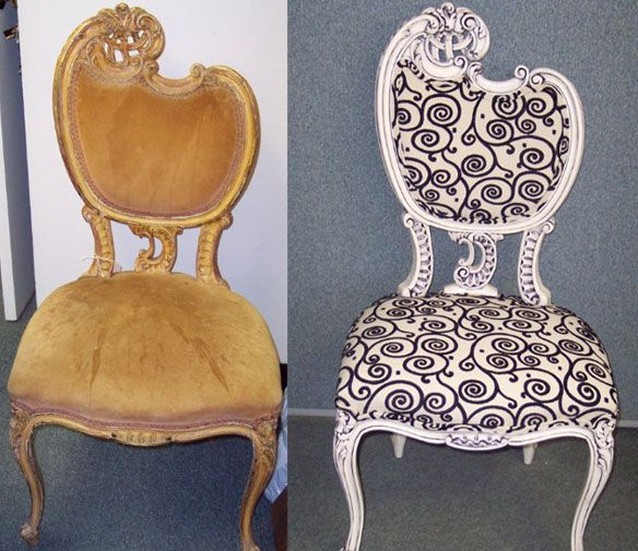 Before & After: Left- Dated vanity chair with sentimential value to the owner. Right- New, updated finish with white lacquer and a black shadow glaze, complimenting the new fabric.