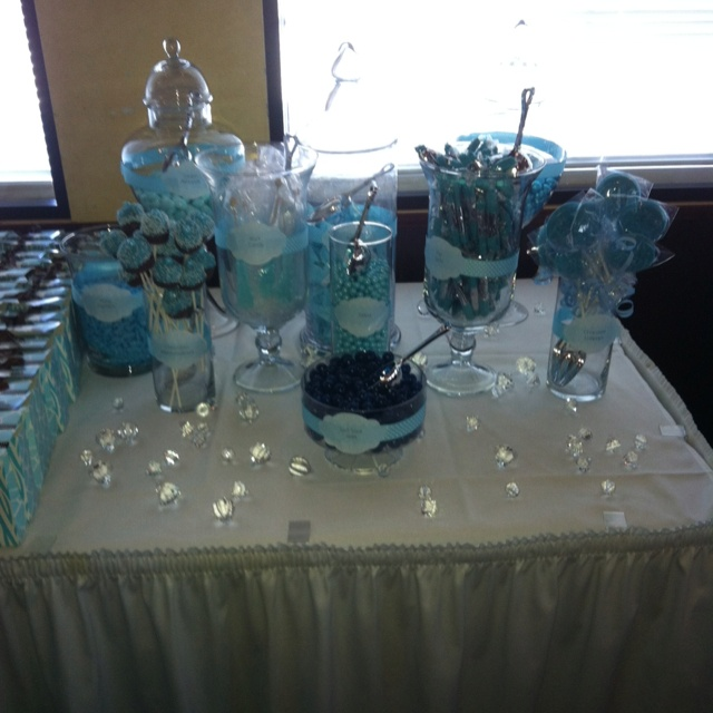 candy buffet for baby shower blue