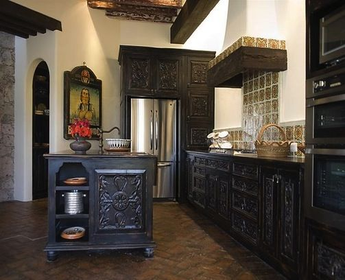 Spanish colonial kitchen for Colonial style kitchen cabinets