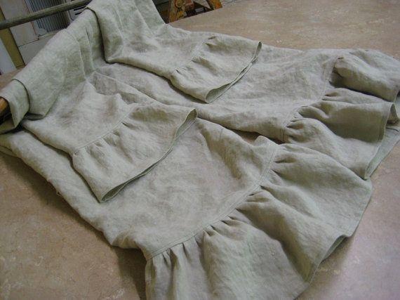 Ruffled Washed Linen Bath Towels