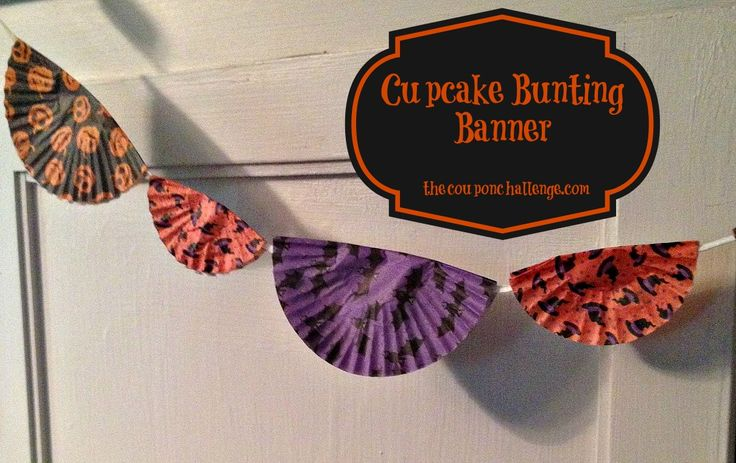 Cutesy Cupcake Cup Bunting Banner {Dollar Store Halloween Craft}