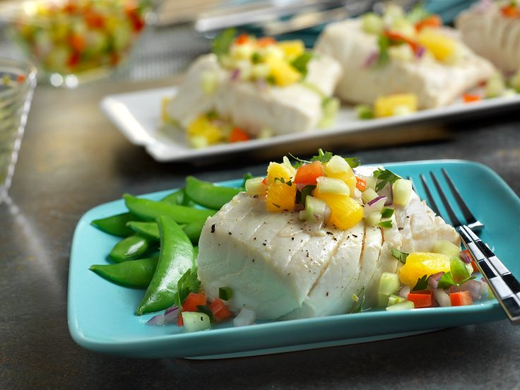 ... fish #recipe? Try this #Poached #Halibut with Chunky #Pineapple #Salsa