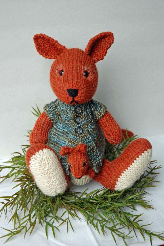 Toy Kangaroo Knitting Pattern : Knitted Kangaroo Toy with Baby Joey Finger Puppet