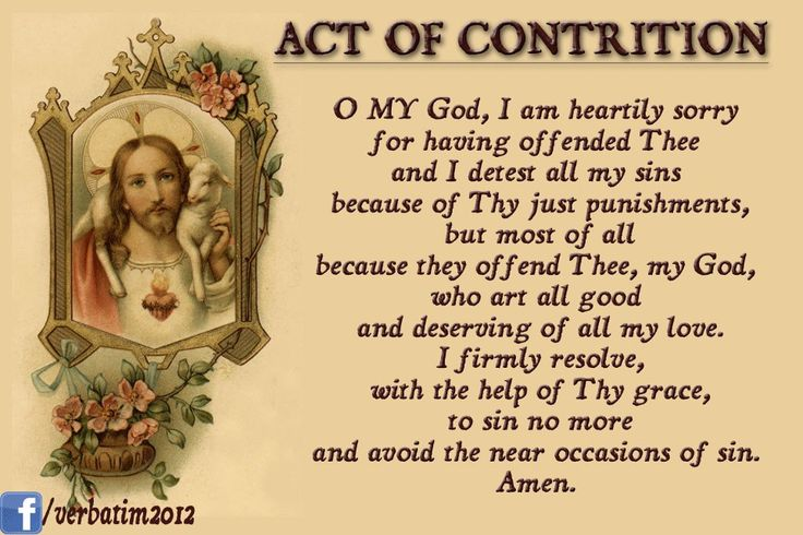 Exhilarating image with regard to act of contrition printable