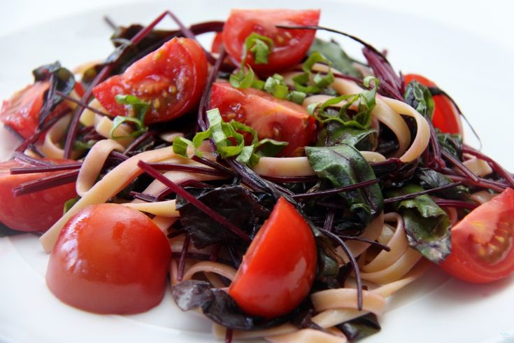 Pasta With Baby Beet Greens and Tomatoes | veggies | Pinterest