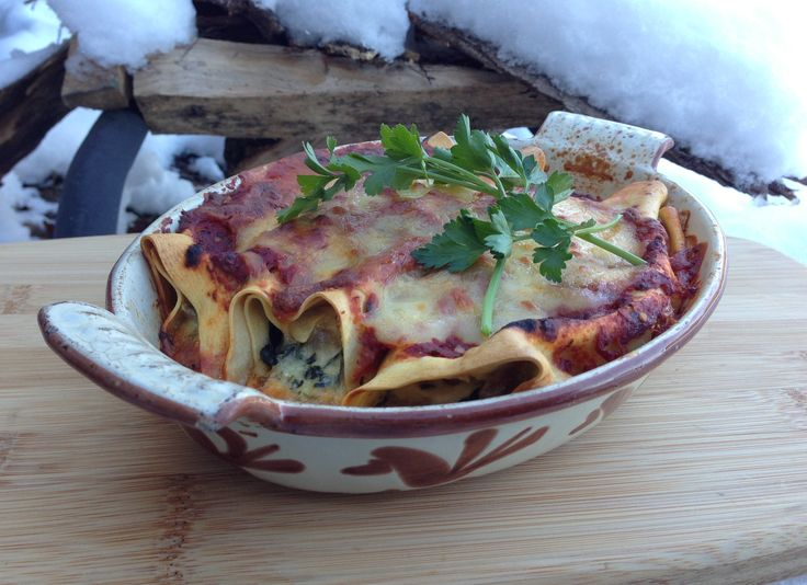 Spinach Manicotti with Homemade Pasta | food | Pinterest