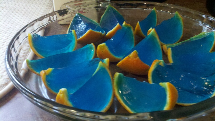 Jello shots that i made for uf tailgating blue jello in tangerine