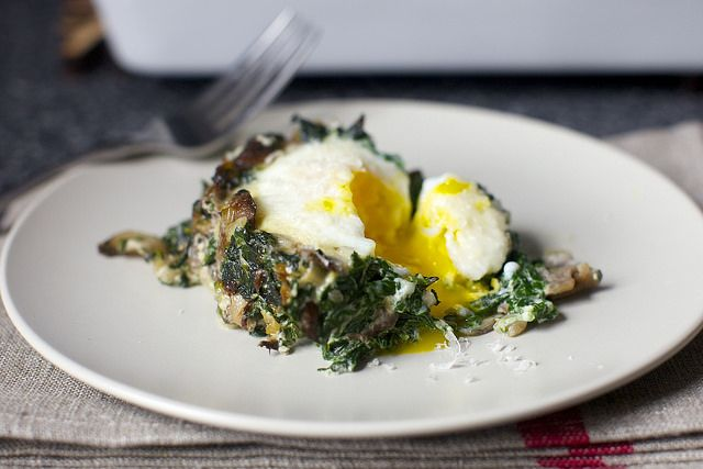 baked egg with spinach and mushrooms by smitten kitchen