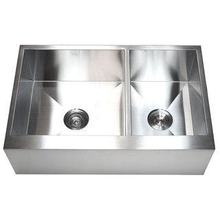 33-inch 16-gauge Farmhouse Double 60/40 Bowl Flat Apron Kitchen Sink ...