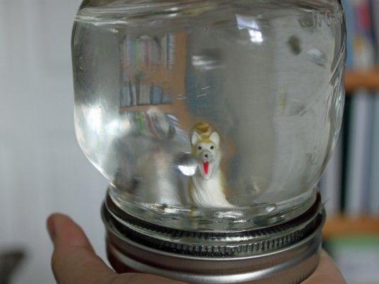 Turn an old jar into a snow globe