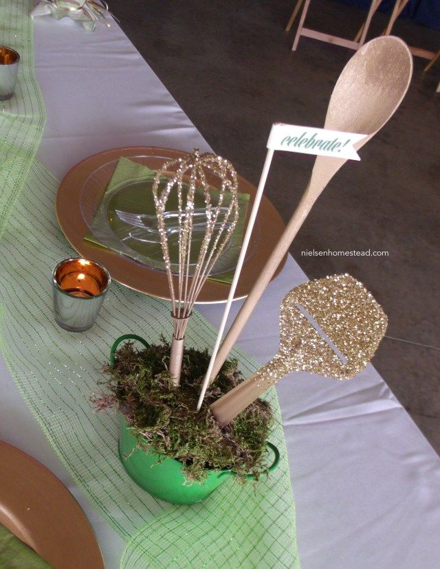 Can't afford a centerpiece? Just grab your whisk from the drawer and dip it in glitter.