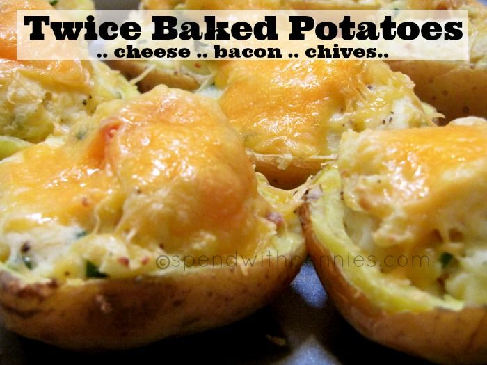 Twice Baked Potatoes! These yummy spuds are loaded up with all of your ...