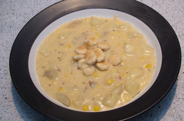 corn & bacon chowder... Just add a lil shredded cheese on top. Yum!