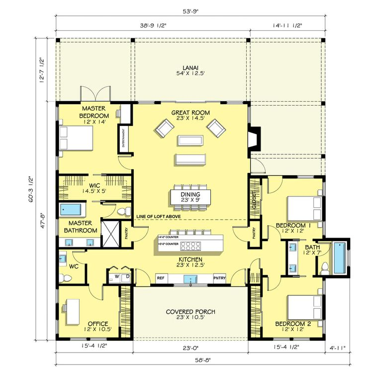 Main floor plan master bath closet nest pinterest for Home plans with master on main floor