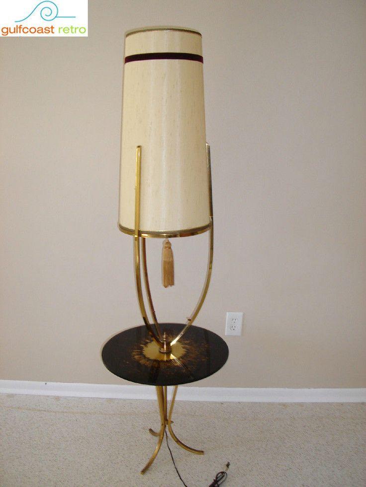 Mid century hollywood regency brass floor lamp table eames for Retro hollywood floor lamp