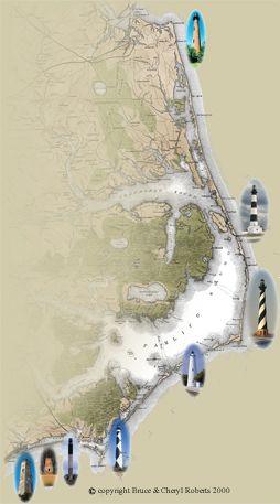 North Carolina Outer Banks Light Houses  Interesting Maps