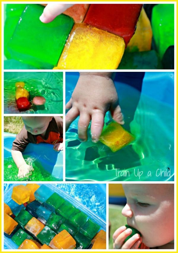 Colored Ice in the Play Pool - such an inexpensive sensory play idea for summer!  Observe color mixing and play while staying cool.