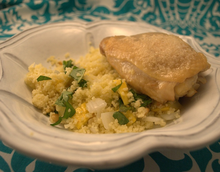 Elevator: Herbed Summer Squash and Couscous Salad with Crispy Chicken ...