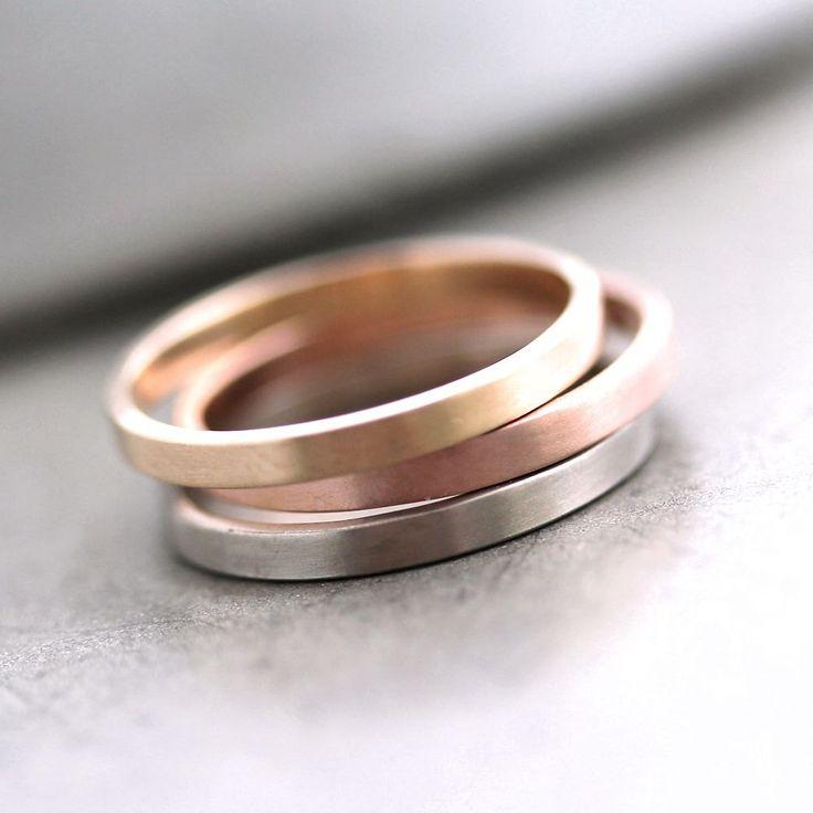 ring brushed pink gold wedding ring or stacking ring via