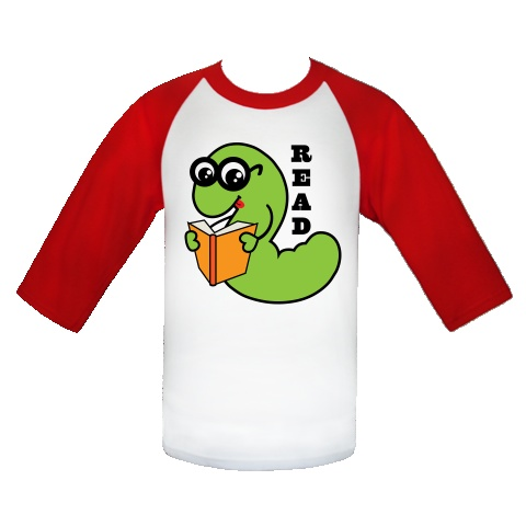 Bookworm Reading White and Red Youth Baseball Jersey gift for anyone ...