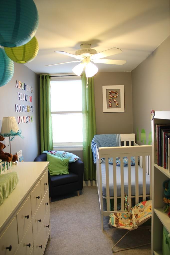 Lilac teal nursery : Blue green and gray nursery