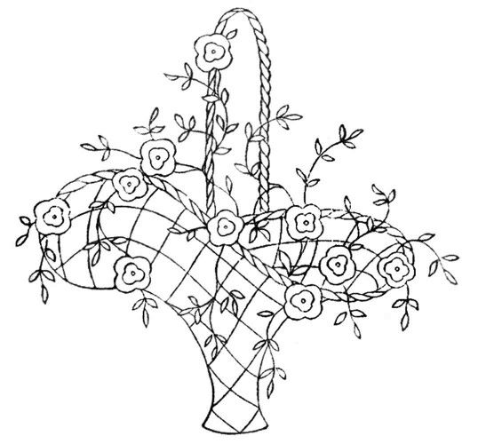 Free Flower Basket Embroidery Designs : Basket of flowers embroidery pattern crewel