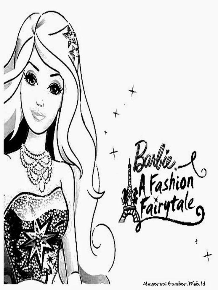 Barbie fashion fairytale poster mewarnai gambar pinterest