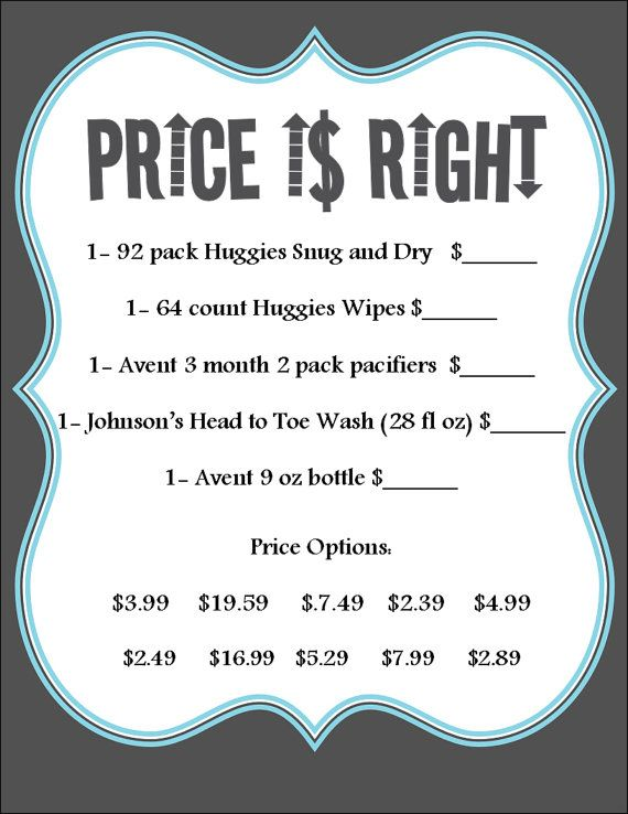 baby shower game price is right colors can be by cmldesigns89