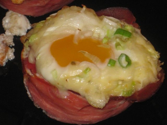 Baked Eggs with Black Forest Prosciutto and cheese