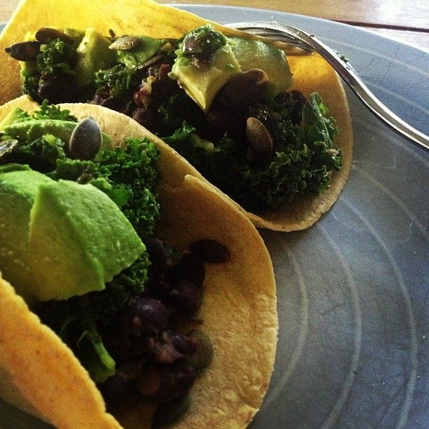 Black bean and kale tacos with chimichurri from lydbot