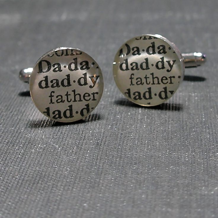 Daddy Dictionary Sterling Silver Round Cufflinks.. $50.00, via Etsy.