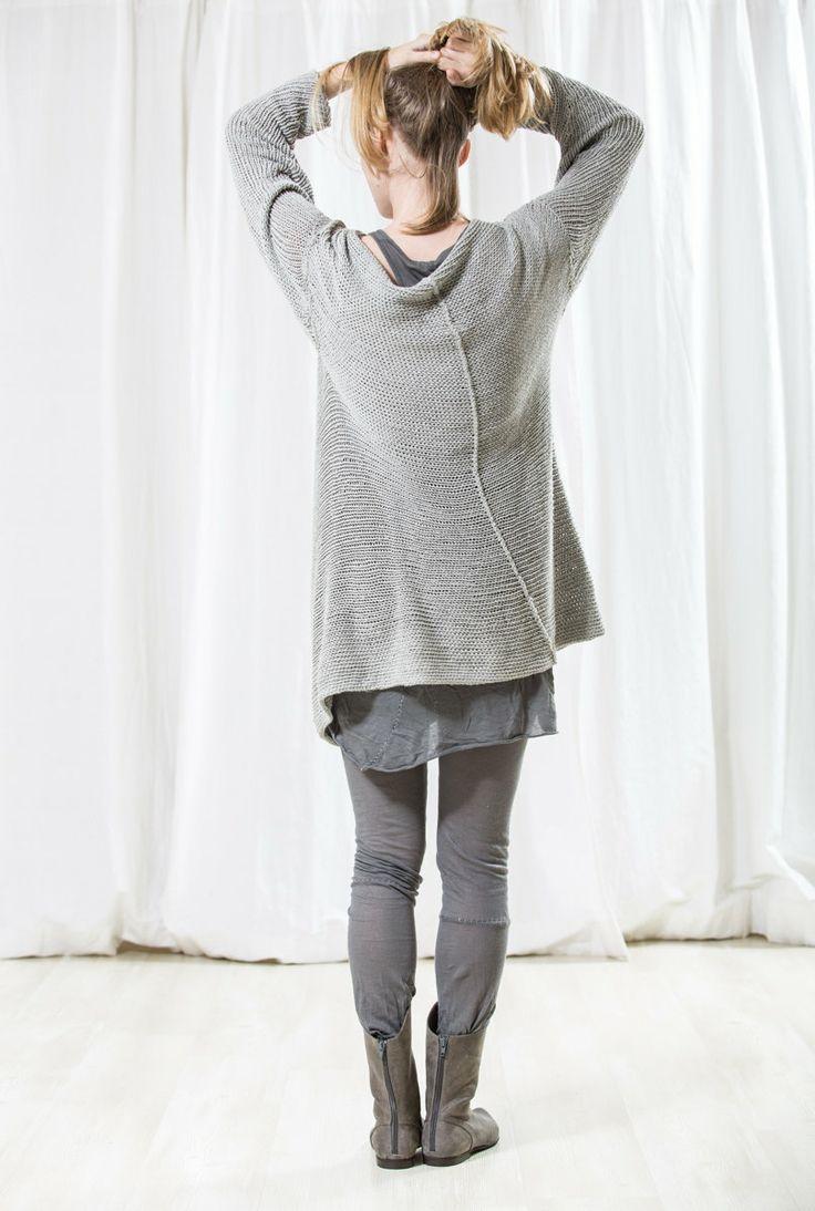 Chunky grey soft women jacket handmade knitted sweater by toosha 235