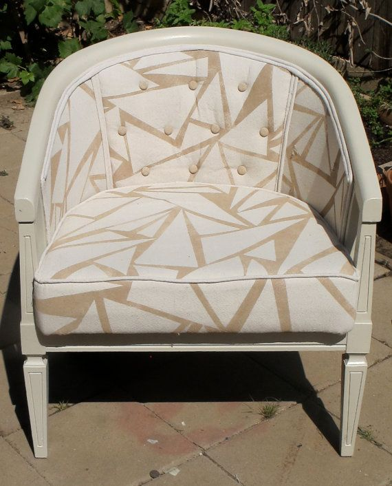 Geometric upholstered barrel chair by crinkleandcrimp on etsy 250 00