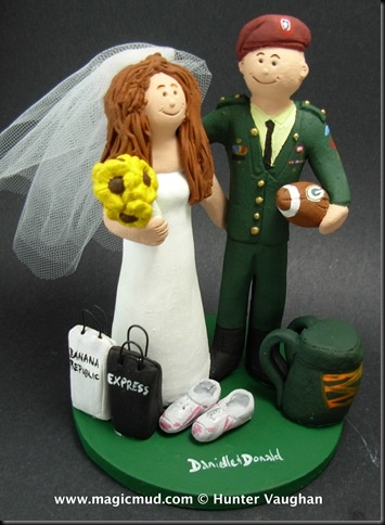 Army Airborne Wedding Cake Topper.....Paratroopers, airborne forces and light infantrymen…it's time for that most serious of missions… Marriage!! ...the groom is outfitted in his finest army dress uniform…. and his beautiful bride is at the ready…..with her runners and shopping bags.  Sure he loves his Green Bay Packers football team as well… and is never without his backpack of gear $235 #army#navy#soldier#military#marine#dress_greens#dress_blues#wedding#cake#topper#wedding_cake_topper#shopper