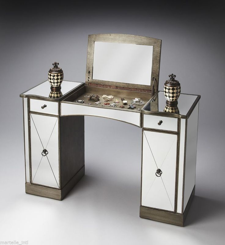 Vanity table desk make up mirror on hardwood silver pewter for Silver vanity table