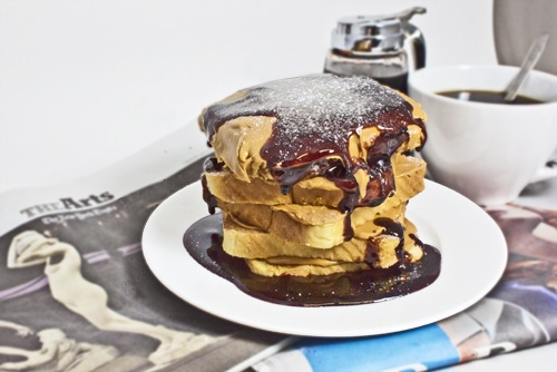 Nuts: Stacked french toast layered with Smooth Operator peanut butter ...