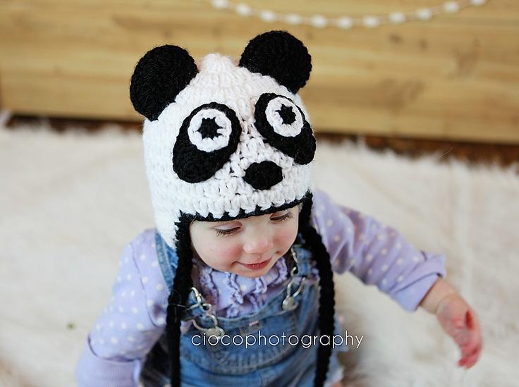 Free Crochet Baby Panda Hat Pattern : Panda Bear Crochet Hat pattern by Sweet Kiwi Crochet ...