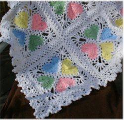 Crochet Granny Square Baby Afghan Patterns : Baby heart afghan Crochet Baby Blankets Pinterest
