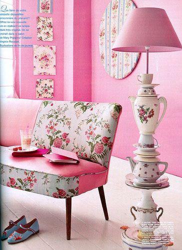 pink tea party lamp